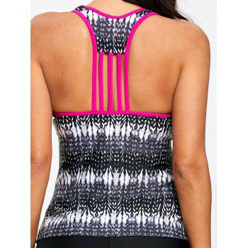 Illusion Print Racerback Tankini Top - COLORMIX XL