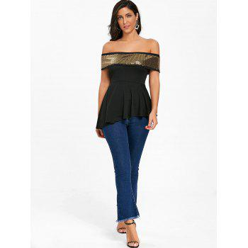 Asymmetrical Sparkle Off The Shoulder Tee - BLACK L