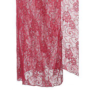 Lace Slit See Thru Long Lingerie Dress - WINE RED 2XL
