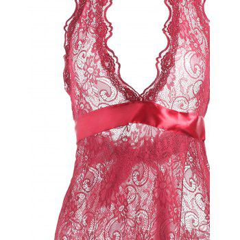Lace Slit See Thru Long Lingerie Dress - WINE RED M
