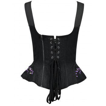 Rattan Embroidery Square Collar Waist Training Corset - PURPLE XL