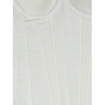 Plant Jacquard Wedding Push Up Strapped Corset - WHITE 2XL