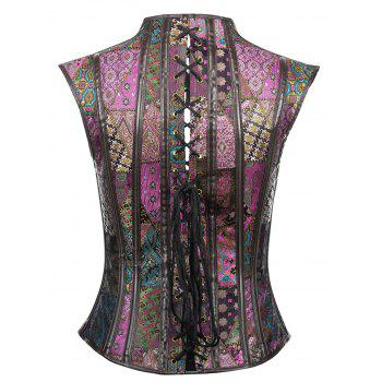 Retro Jacquard Cut Out Waist Cincher Court Corset - COLORMIX XL