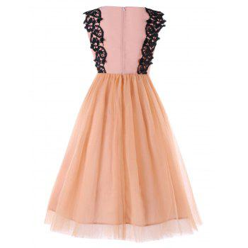 Chiffon Panel High Waist Sleeveless Dress - APRICOT M