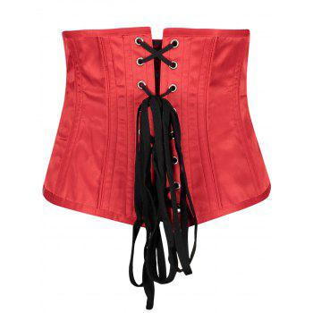 Leaf Jacquard Lace Up Back Underbust Corset - RED S