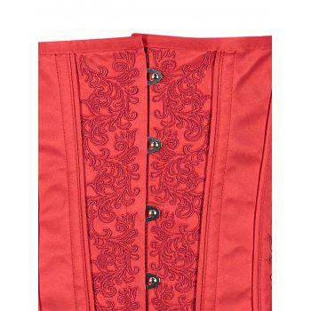 Leaf Jacquard Lace Up Back Underbust Corset - RED L