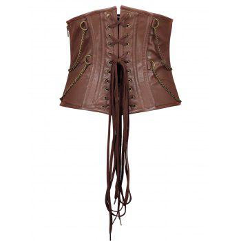 Rivets Chains Steam Punk Strapped Underbust Corset - CAPPUCCINO S