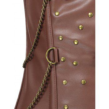 Rivets Chains Steam Punk Strapped Underbust Corset - CAPPUCCINO M