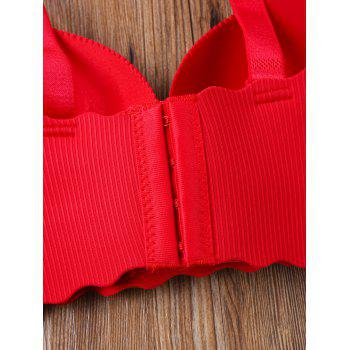 Scalloped Edge Seamless Bra - RED 75B