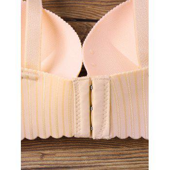 Striped Scalloped Edge Full Cup Seamless Bra - YELLOWISH PINK 70B