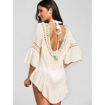 Fringed Crochet Trim Sheer Cover Up - LIGHT KHAKI ONE SIZE