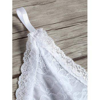 Lace See Thru Cami Garter Babydoll - WHITE ONE SIZE