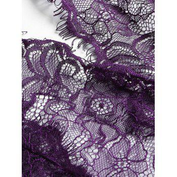 Lace Plunge Belted Sheer Teddy - DEEP PURPLE XL