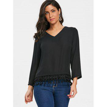 V Neck Fringed Chiffon Top - BLACK M