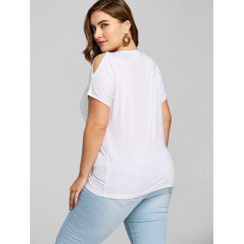 Embellished Plus Size Open Shoulder T-shirt - WHITE 3XL