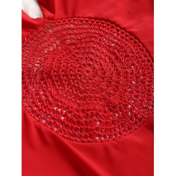 High Cut Crochet Panel Swimsuit - RED S