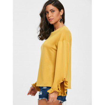 Drop Shoulder Ruffled T-shirt - GINGER M