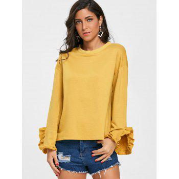 Drop Shoulder Ruffled T-shirt - GINGER L