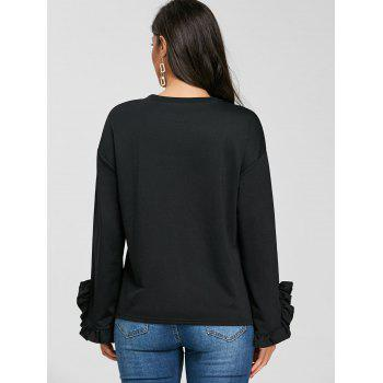 Drop Shoulder Ruffled T-shirt - BLACK XL