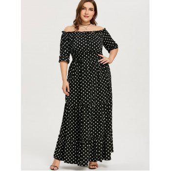 Plus Size Polka Dot Long Dress - BLACK XL