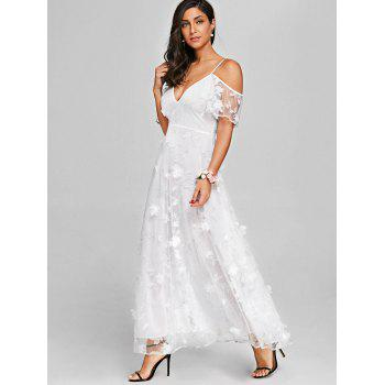 High Waisted Lace Maxi Dress - WHITE M