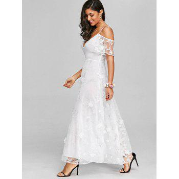 High Waisted Lace Maxi Dress - WHITE XL