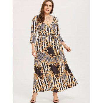 Three Quarter Sleeve Printed Maxi Dress - COLORMIX 2XL