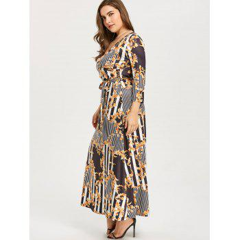 Three Quarter Sleeve Printed Maxi Dress - COLORMIX 3XL