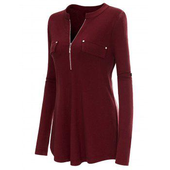 Plus Size Long Roll-Tab Sleeve T-shirt - BURGUNDY XL