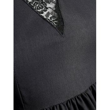 Plus Size Lace Swan Painting Party Dress - BLACK 3XL