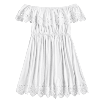 Laced Cover-up Dress - WHITE L