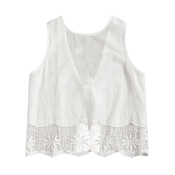 Back Self Tie Crochet Hem Top - WHITE M