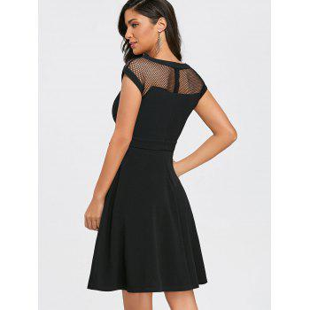 Mesh Panel Cap Sleeve Flare Dress - BLACK L