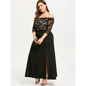 Plus Size Lace Maxi Slit Prom Dress - BLACK XL