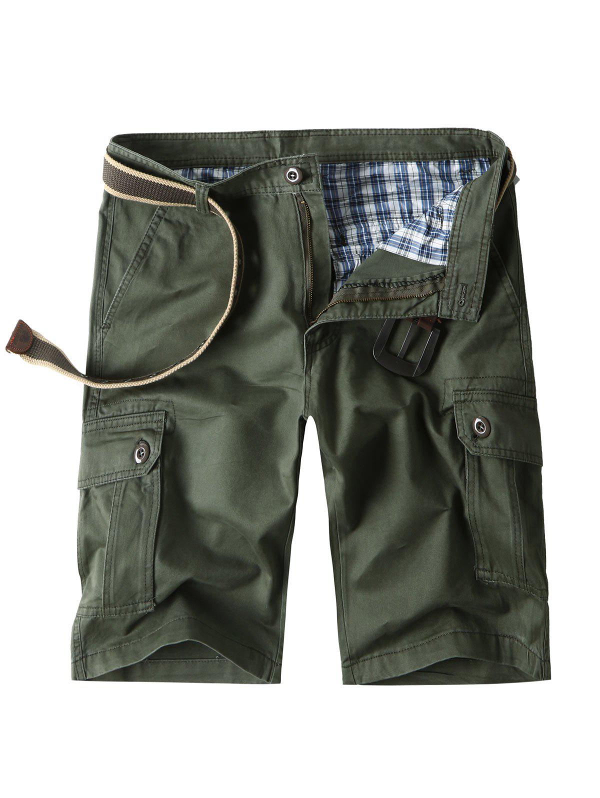 Zipper Fly Bermuda Cargo Shorts with Pockets - ARMY GREEN 32