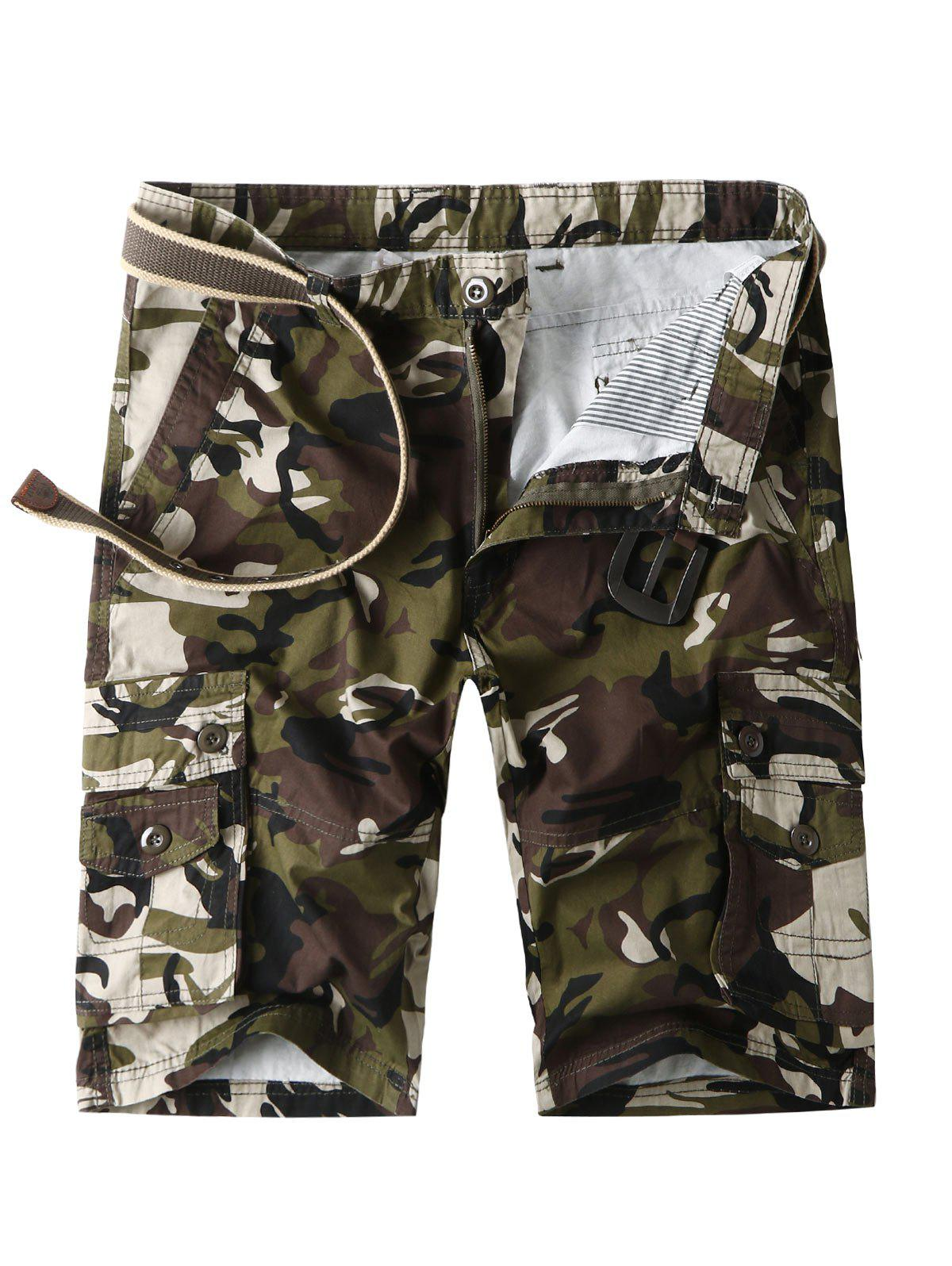 Zip Fly Flap Pockets Camo Cargo Shorts - ARMY GREEN 32