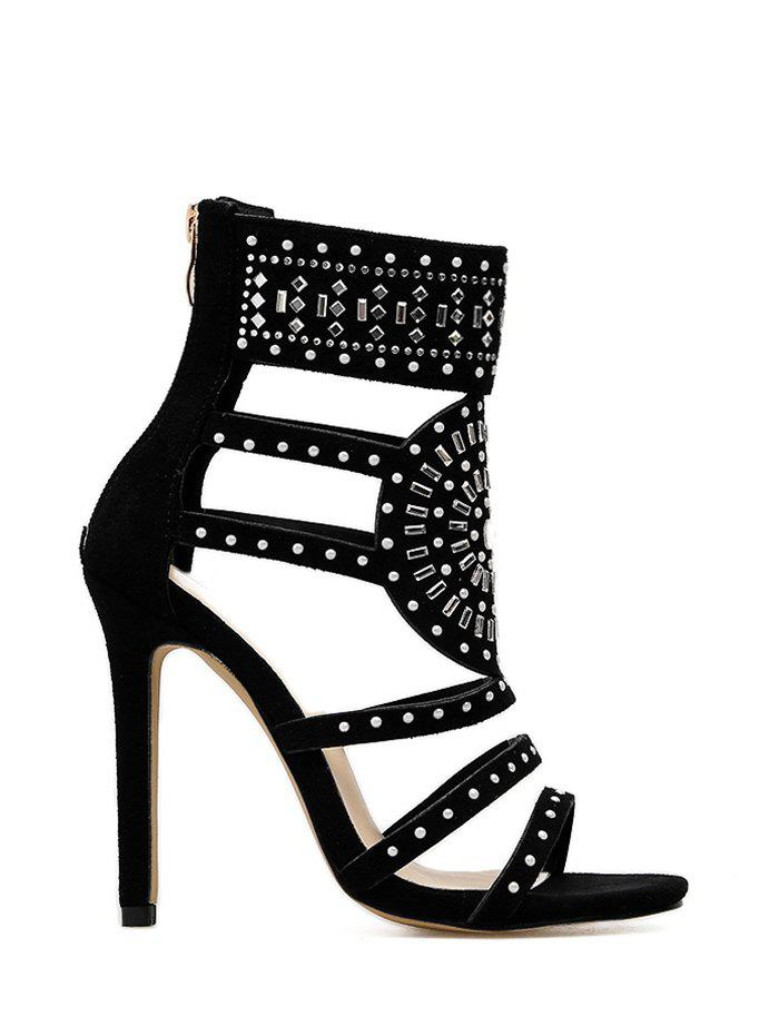 Strappy Rhinestone Embellished Sandals - BLACK 35