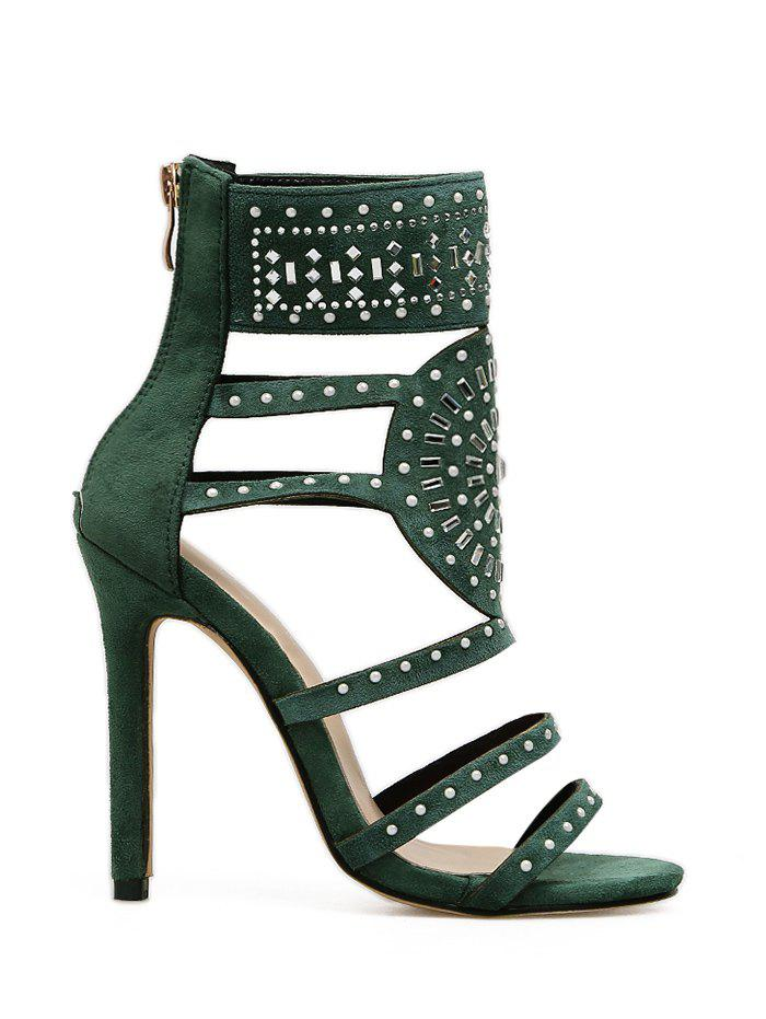 Strappy Rhinestone Embellished Sandals - GREEN 36