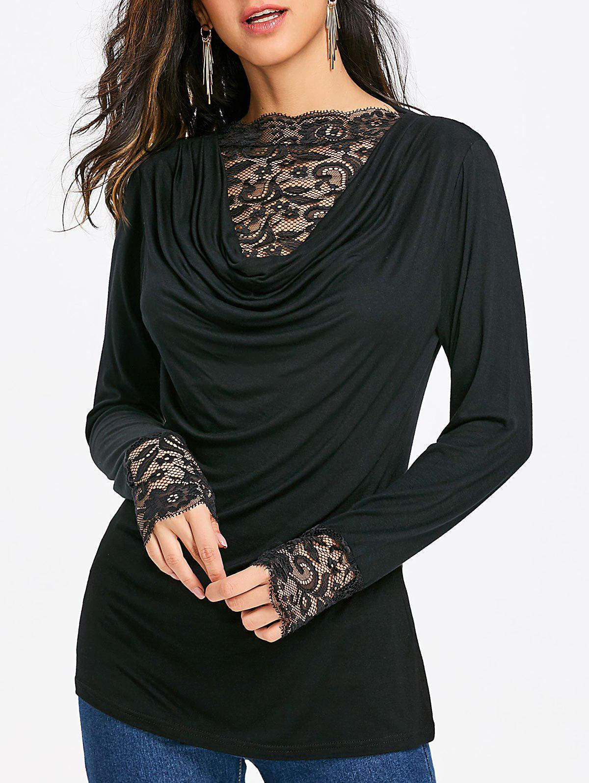 Lace Insert Heap Front Long Sleeve T-shirt - BLACK S