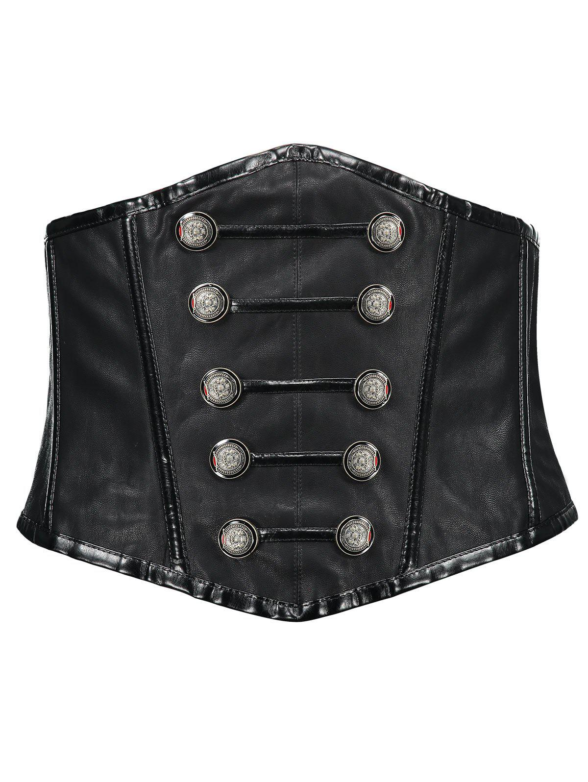 Buttoned Side Zip Cincher Corset - BLACK XL