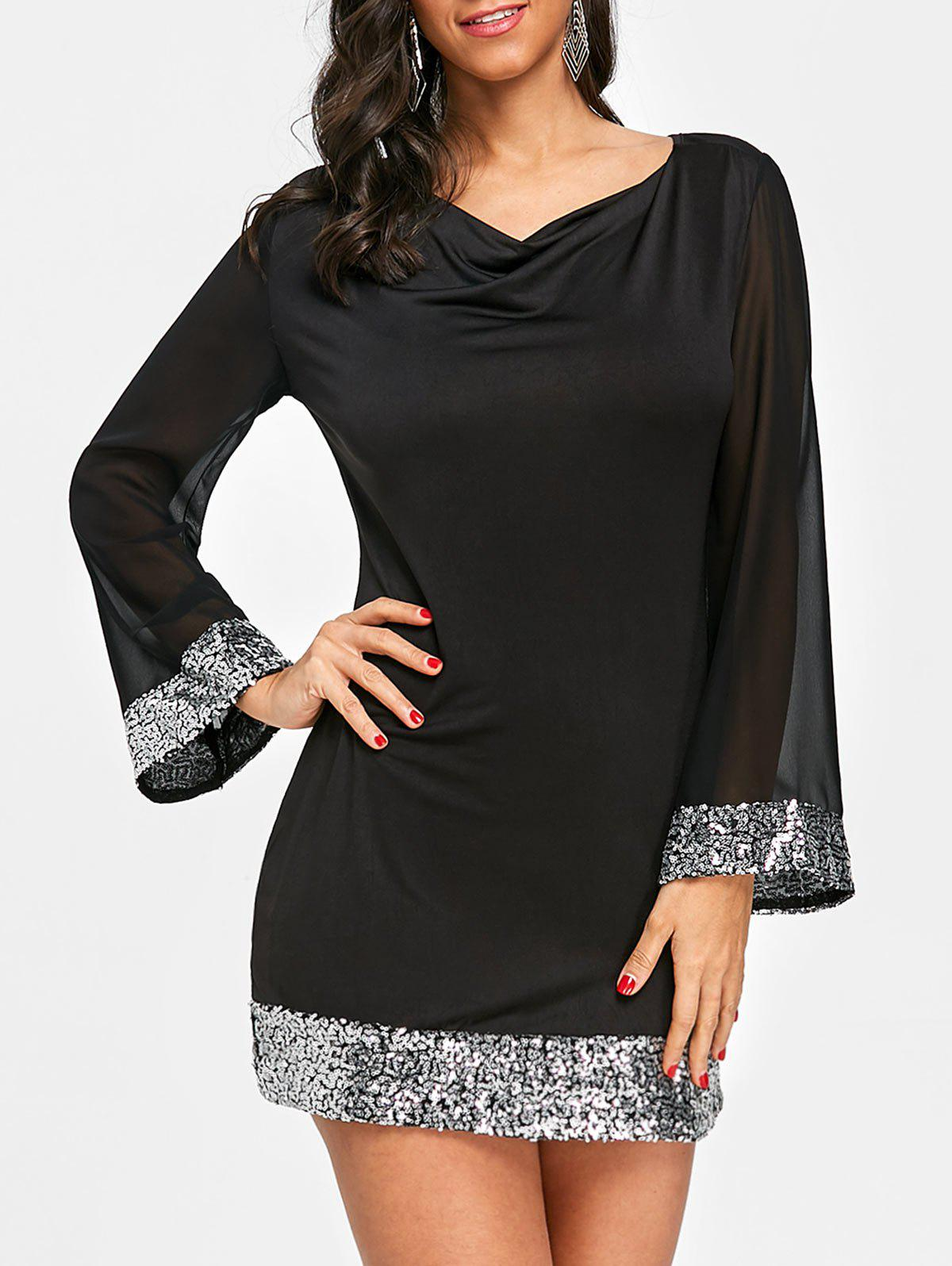 Sequin Tunic Chiffon Dress - BLACK M