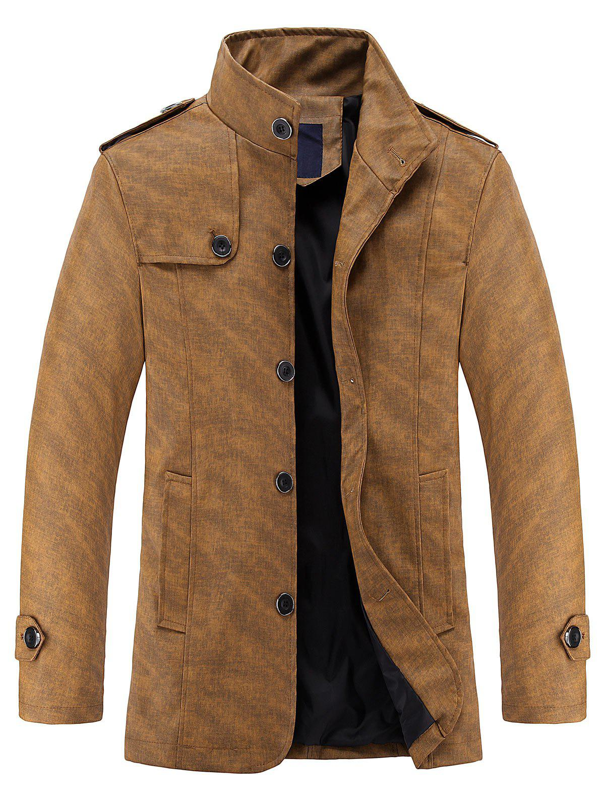 Stand Collar Casual PU Leather Jacket - KHAKI 3XL