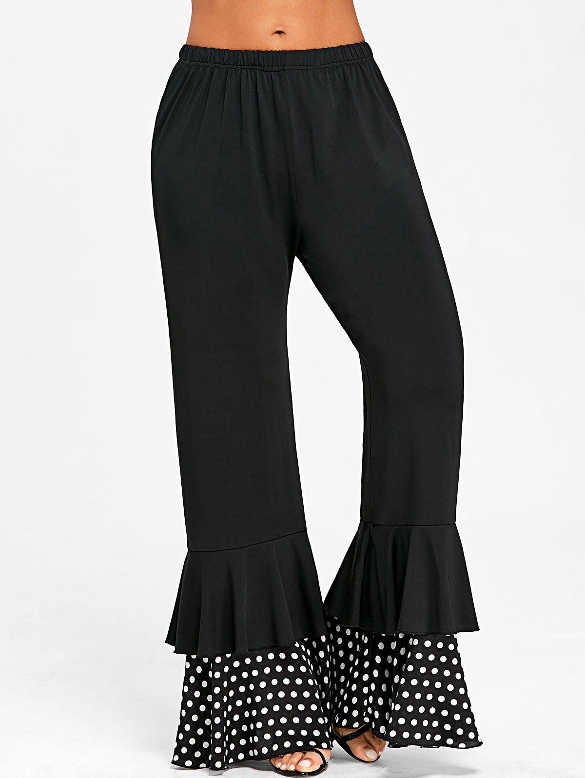 Polka Dot Insert Layered Flare Pants - BLACK L