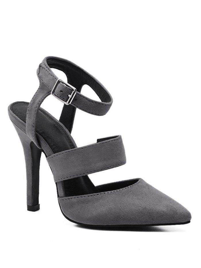 Double Straps Pointed Toe Sandals - GRAY 39