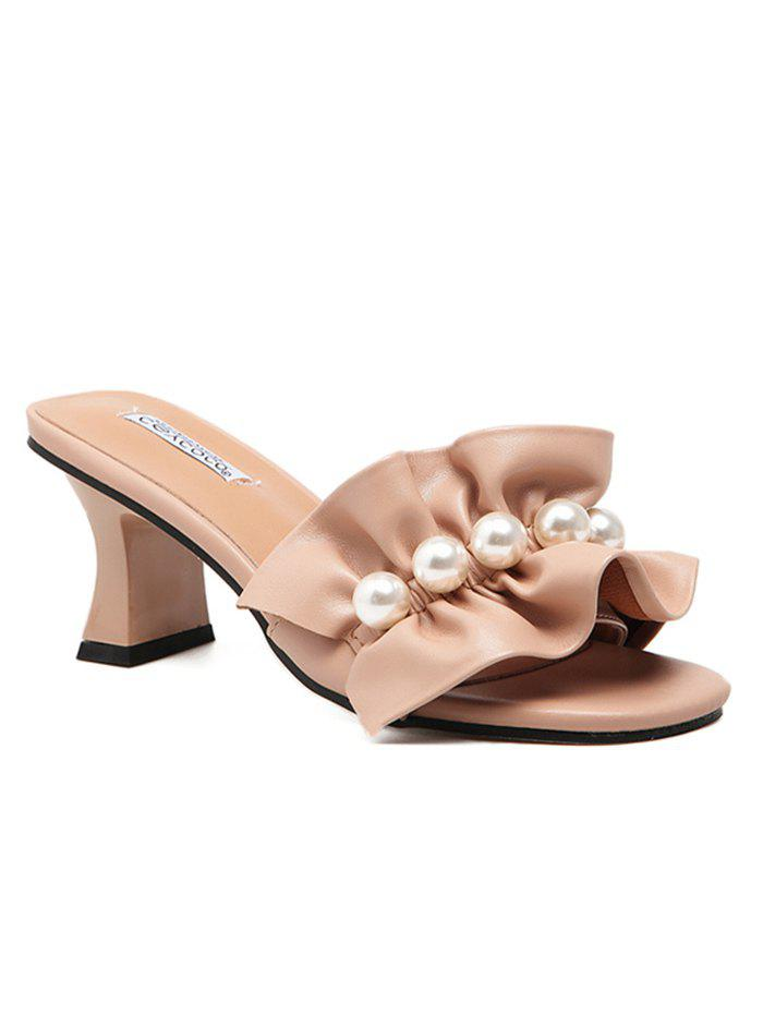Faux Pearl High Heel Slide Sandals - APRICOT 36