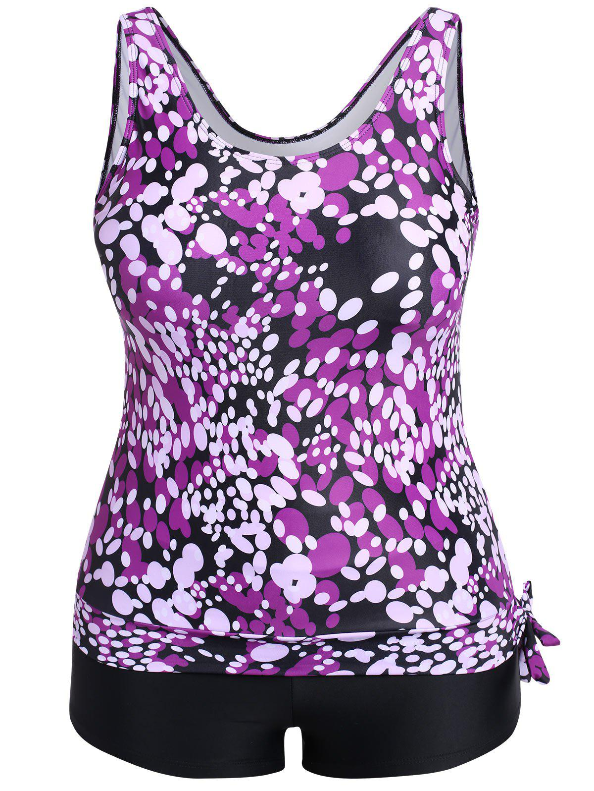 Image For Ellipse Printed Plus Size Tankini with Side Bowknot