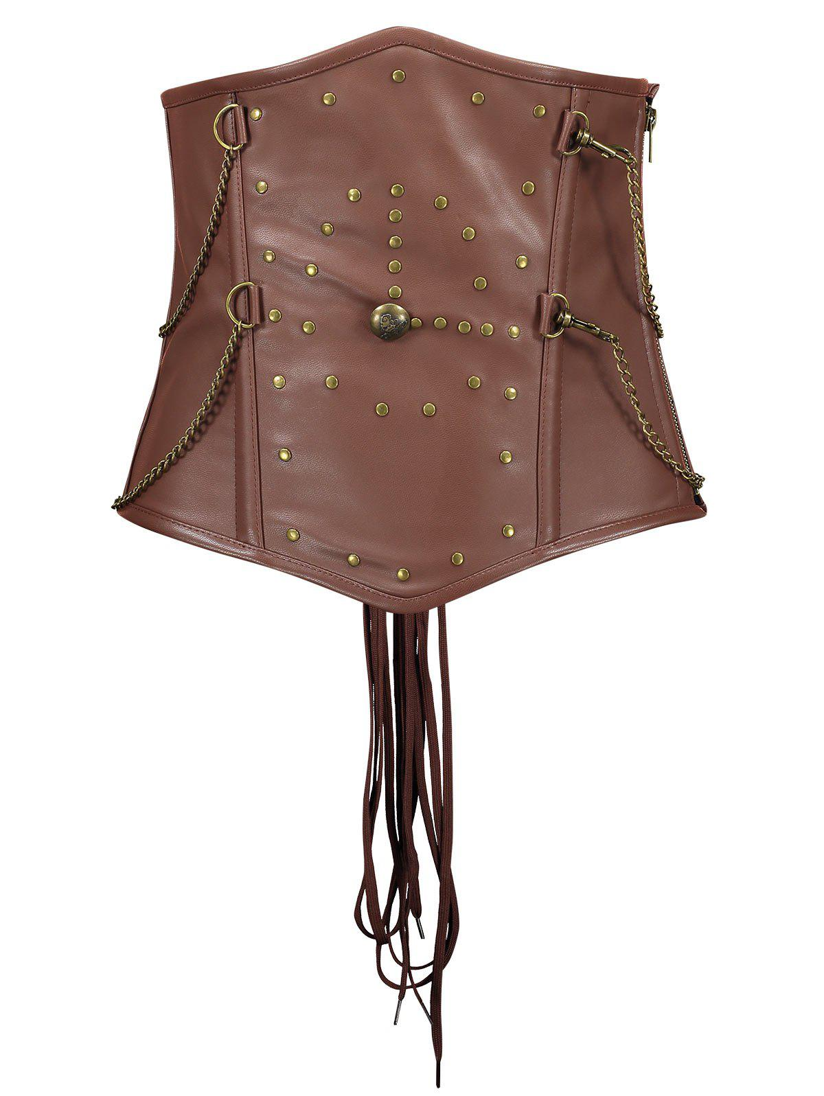 Rivets Chains Steam Punk Strapped Underbust Corset - CAPPUCCINO XL