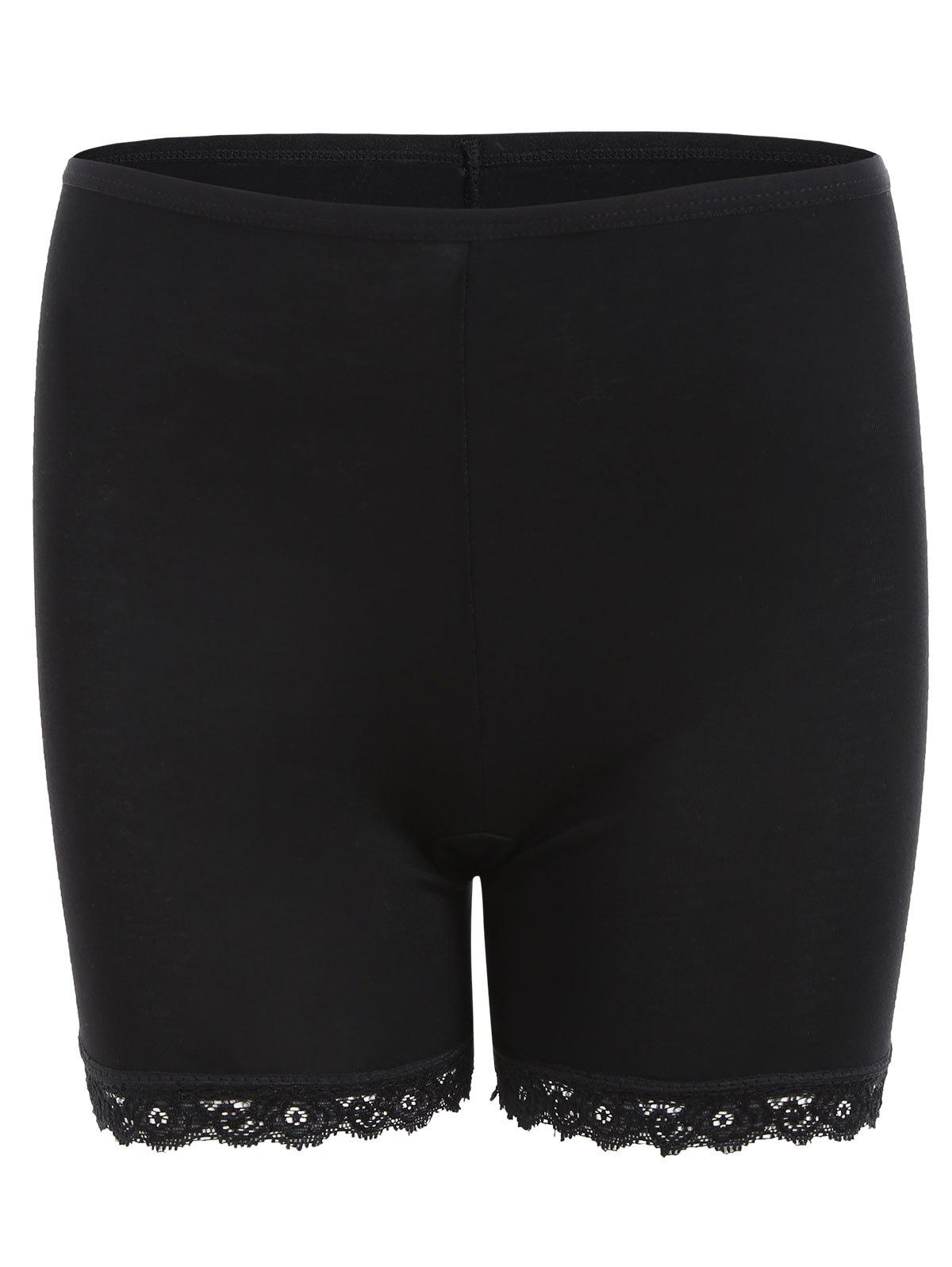 Lace Hem Tight Underpants - BLACK ONE SIZE