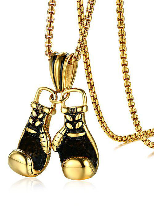 Stainless Steel Boxing Glove Pendant Necklace - GOLDEN