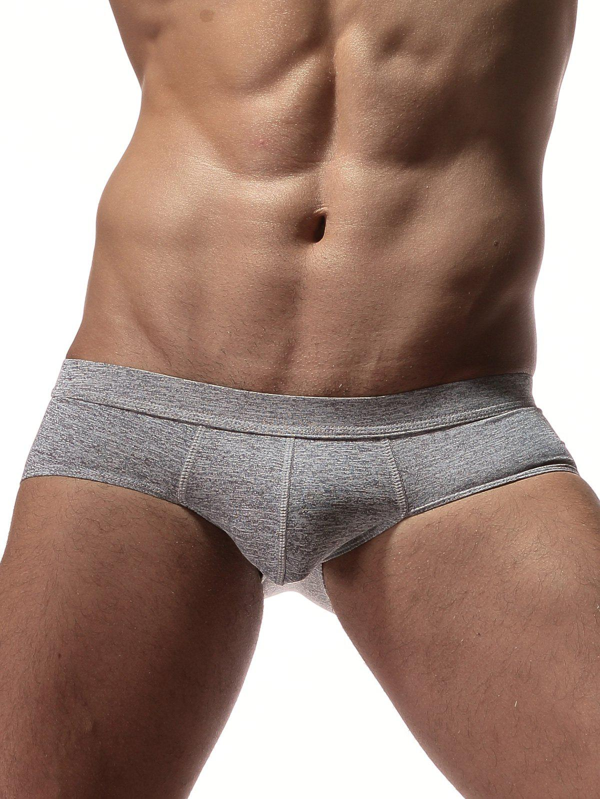 Stretchy Convex Design Briefs - HEATHER GRAY L